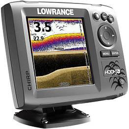 Эхолот Lowrance Hook-5 с GPS четырехлучевой, цветной дисплей, меню на русском,