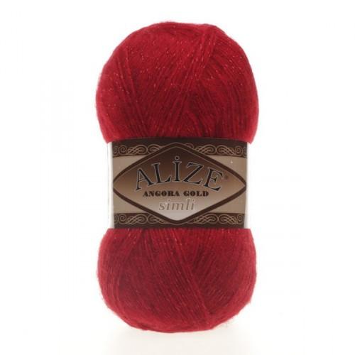 ANGORA GOLD SIMLI 106 красный - 20% шерсть, 5% металлик, 75% акрил