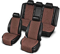 Накидки на сидения комплект коричневые широкие стеганые для автомобиля алькантара