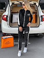 ⚜️ Женский черный велюровый спортивный костюм Puma | Жіночий чорний велюровий спортивний костюм Пума (репліка)