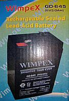 Аккумулятор 6 вольт 5 ампер GD 645 (6V 5.0Ah) Wimpex, фото 1