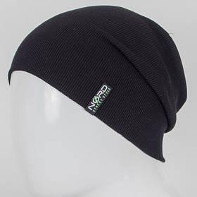 Молодежная трикотажная шапка Рибан черная