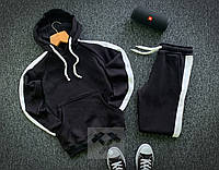Теплый мужской спортивный костюм, черный с белым