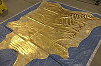 Кожа коровы золотого цвета с золотым рисунком зебры, фото 1