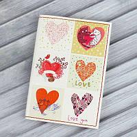 Стильная обложка для паспорта из натуральной кожи ReD Love is in the air + блокнотик
