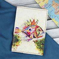 Стильная обложка для паспорта из натуральной кожи ReD Морское дно + блокнотик