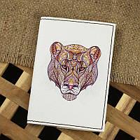 Стильная обложка для паспорта из натуральной кожи ReD Ethnic puma + блокнотик