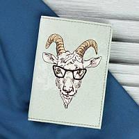Стильная обложка для паспорта из натуральной кожи ReD Hipster goat + блокнотик
