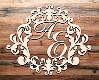 Фамильный Герб 50х40см Свадебные Инициалы из дерева, деревянная монограмма, семейный герб на свадьбу инициалы, фото 1