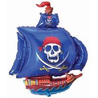 Качество! Воздушный шар из Фольги для Декора FM Мини-фигура Пиратский корабль голубой 38см Х 29см