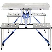 Комплект для пикника раскладной стол с 4 стульями RIAS Folding Table 85х67х67 см Silver (3_00247)