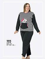 Пижама женская больших размеров серый ,темно-синий FAWN интерлок зима  7313