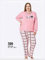 Пижама женская больших размеров розовый , малина  FAWN интерлок зима 7309