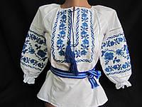 """Блуза  """"Веночек"""" с голубой вышивкой, 104-116 рост, 300/280 (цена за 1 шт. +20 гр.)"""