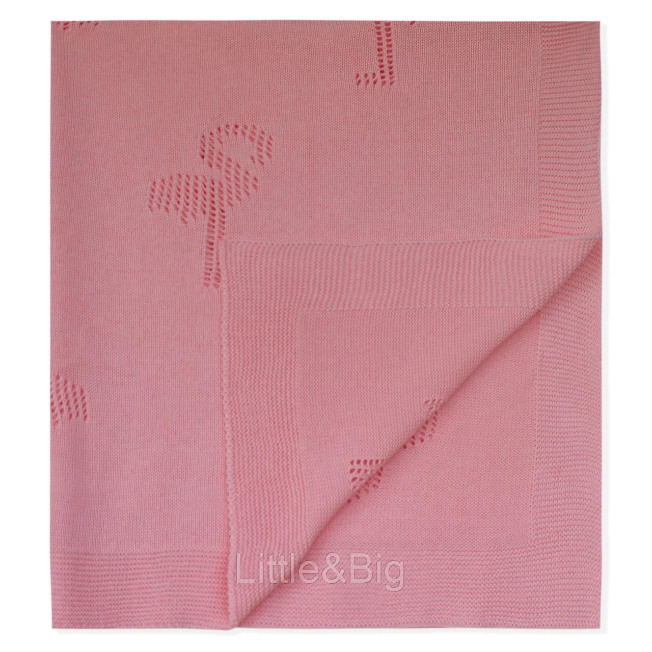 Вязаный плед, детский. Фламинго, персиковый. 90*90