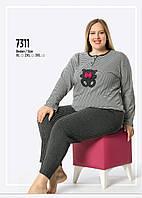 Пижама женская больших размеров серый-микс FAWN интерлок зима 7311