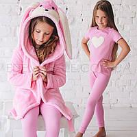 Детский Халат с ушками и Пижама для девочки 534, Розовый, Рост 116 (5-6 лет)