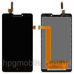Дисплей для Lenovo P780, модуль в сборе (экран и сенсор), черный, оригинал
