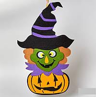 """Подвеска фетровая на Halloween """"Ведьма и Тыква """", фото 1"""