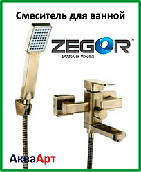 Смеситель для ванны короткий Zegor LEB3-A-KT WKB123 (бронза)
