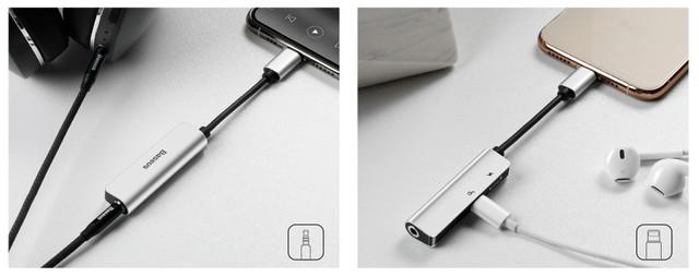 Переходник для наушников Baseus L52 Lightning - 3.5mm AUX mini jack / Dual Lightning Чёрный
