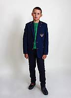 Костюм  Armani, пиджак клетка синий с латками. Школьная форма для мальчиков