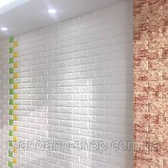 Самоклеющиеся обои Декоративная 3D панель ПВХ 1 шт, белый кирпич 7 мм