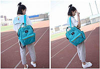 Модная каркасная сумка рюкзак холст бирюзовый