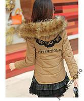 Модная короткая куртка с вязаными всавками осень зима