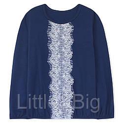 Блуза для девочки с кружевом. Синяя.