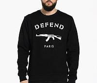 Свитшот Defend Paris черный с логотипом, унисекс (мужской, женский, детский)