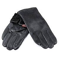 Мужские кожаные перчатки, черные. Подкладка мех. MOD 5 bl