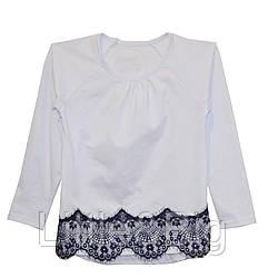 Блуза для девочки с гипюром. Белая