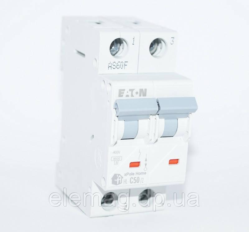 Автоматический выключатель 50А тип C 2 полюса HL-C50/2 Eaton 194776