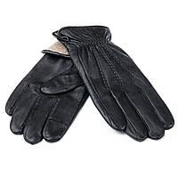 Мужские кожаные перчатки, черные. Подкладка шерсть. MOD 1