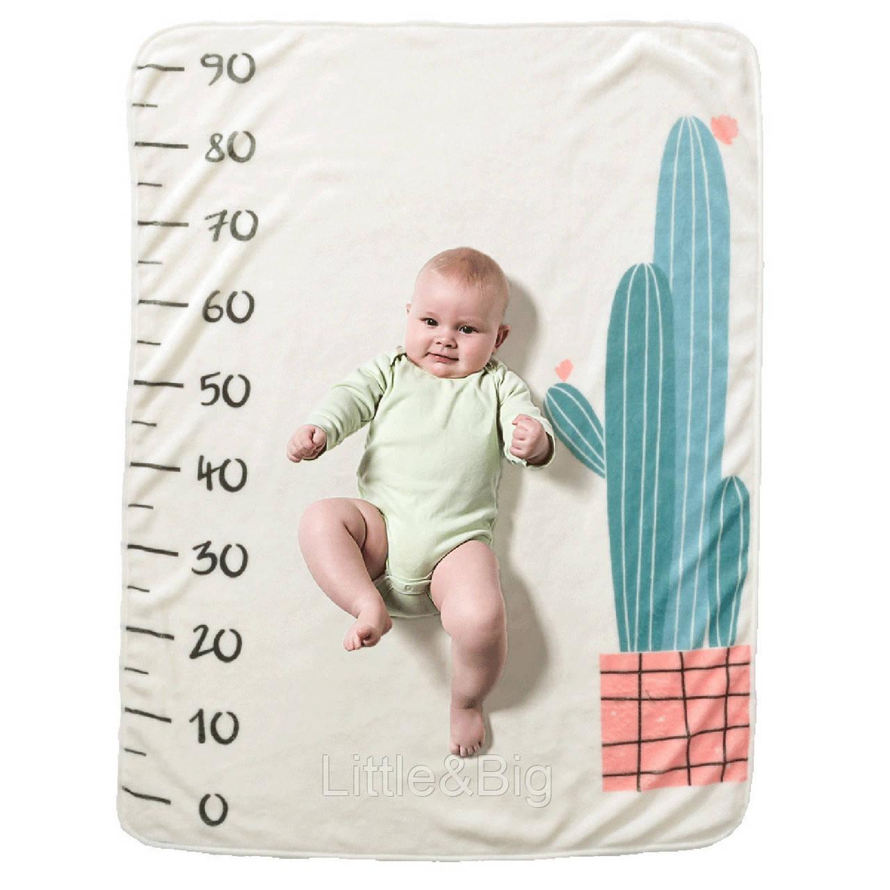 Одеяло ростомер, для новорожденных. 70*102 см. Cactus