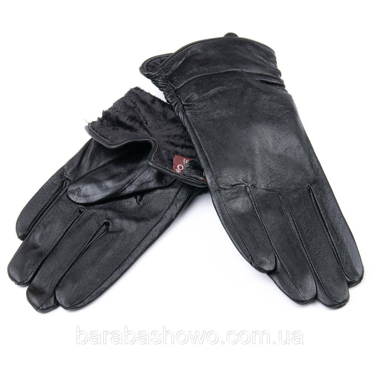 Женские кожаные перчатки, черные, подкладка флис. Тиснение Полоска