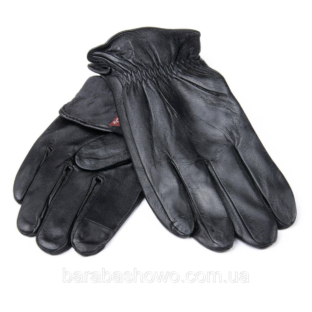 Мужские кожаные перчатки, черные. Подкладка шерсть. MOD 2