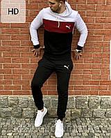 Зимний спортивный костюм, теплый костюм Puma, с капюшоном