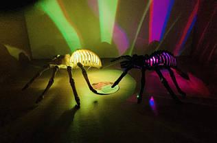 Паук светящийся декор на Хэллоуин, белый, черный