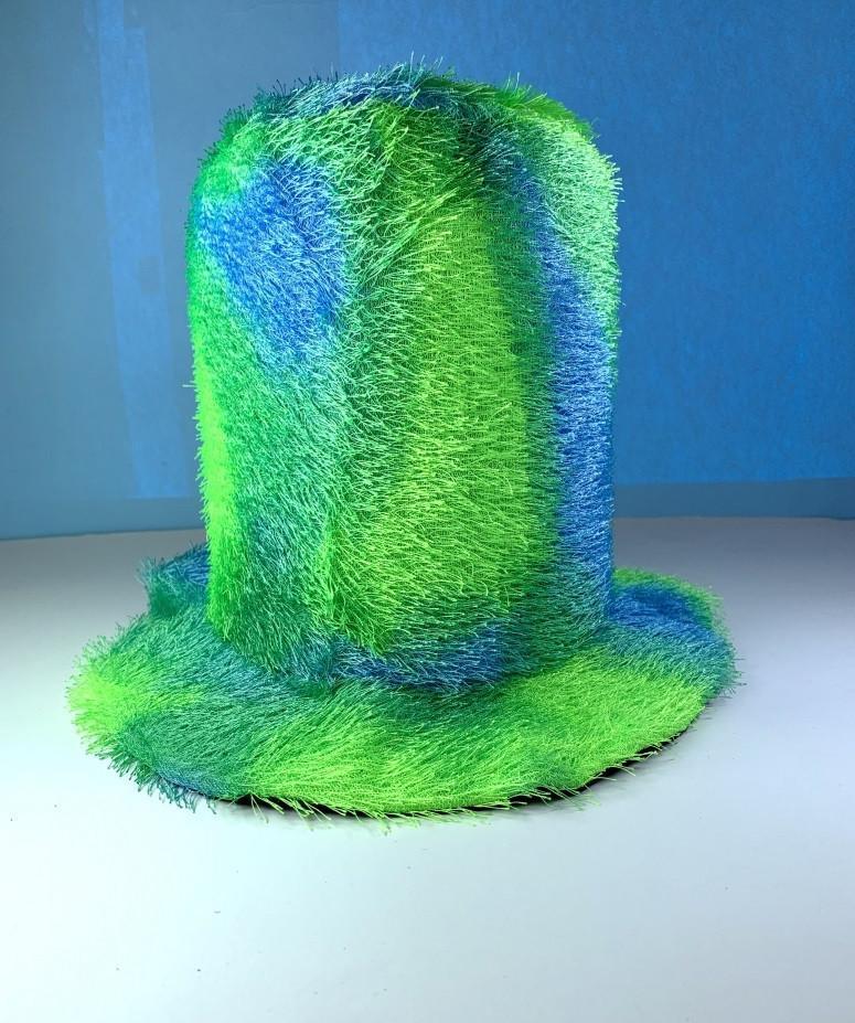 Цилиндр шляпа мягкий зеленый в пятнах