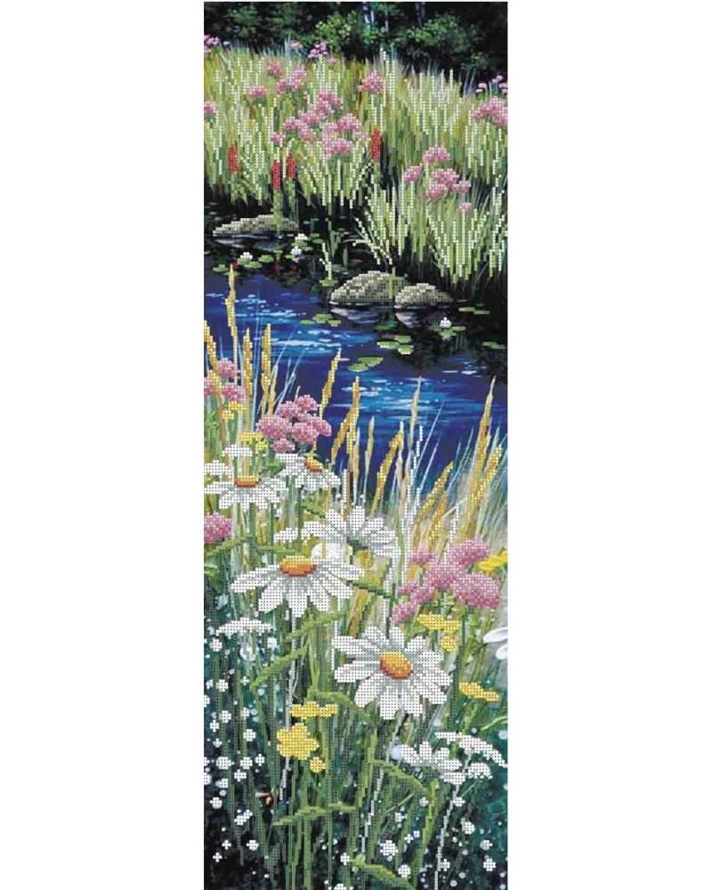 Схема вишивкі бісером на габардині Панно Польові квіти
