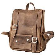Рюкзак из кожи Crazy horse унисекс SHVIGEL 13948 Коричневый., Коричневый