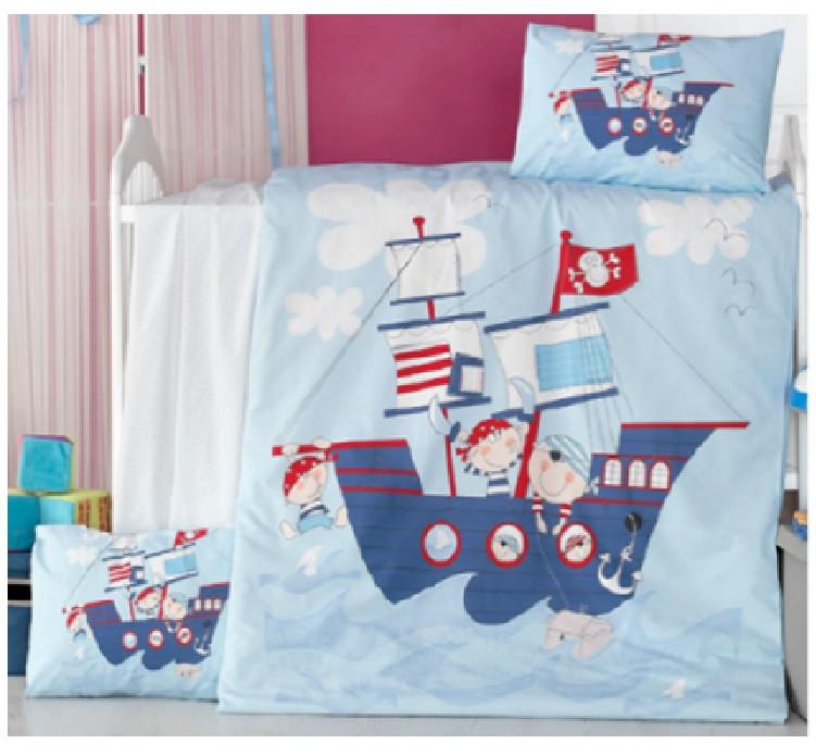 Детский постельный комплект Ранфорс Премиум 100х150 КОРАБЛИК