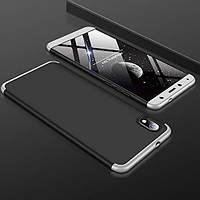 Чехол GKK 360 для Xiaomi Redmi 7A бампер противоударный Black-Silver, фото 1