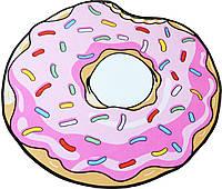 Коврик 3D круглый безворсовый с 3д принтом ковер для дома 80см Пончик (3_9473)