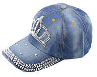 Женская джинсовая кепка с короной и стразами (3_5231)