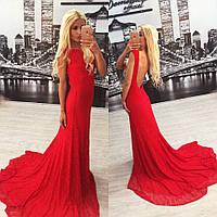 """Красное длинное платье со шлейфом """"Венера 2"""", фото 1"""
