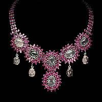 Серебряное Колье с натуральными Рубинами и Розовым Кварцем / Рубиновая Мечта