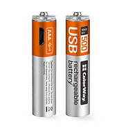 Аккумуляторы microUSB ColorWay (CW-UBAAA-01) AAA/HR03 Li-Pol 400 mAh BL 2шт